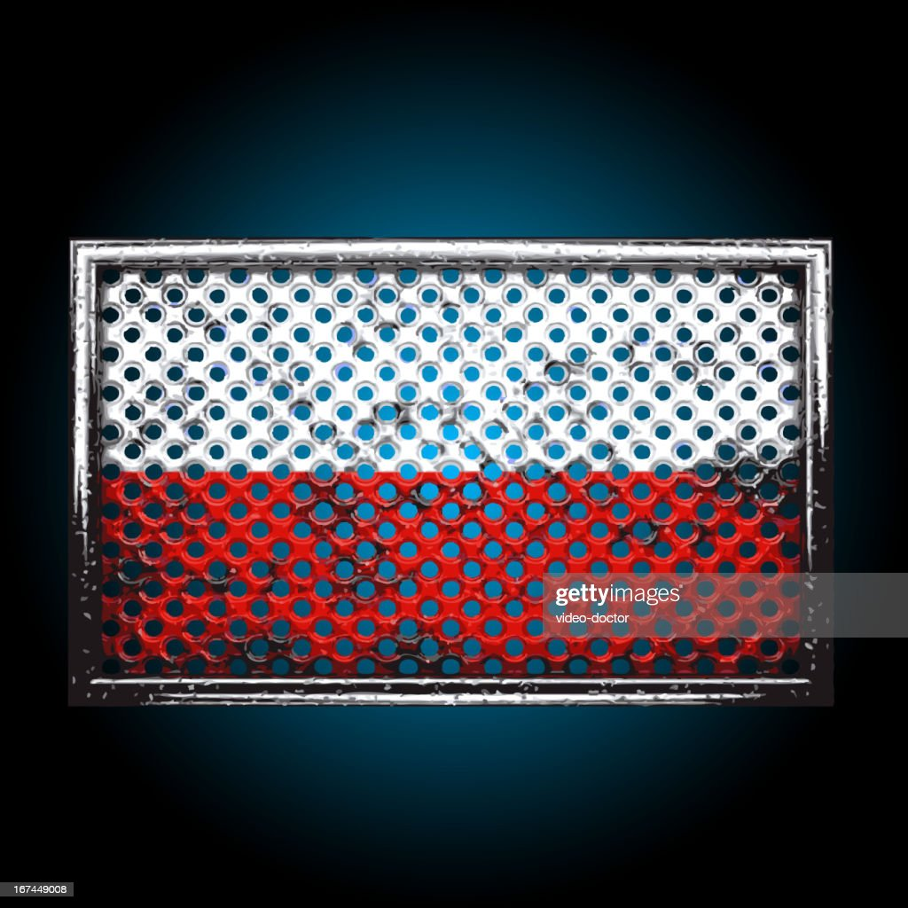 Vector flag on old metal : Vector Art