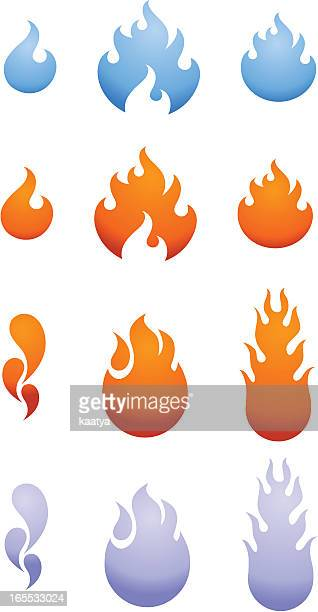 vector flames - flare stack stock illustrations, clip art, cartoons, & icons