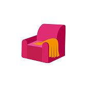 vector flat armchair with woolen blanket or rug.