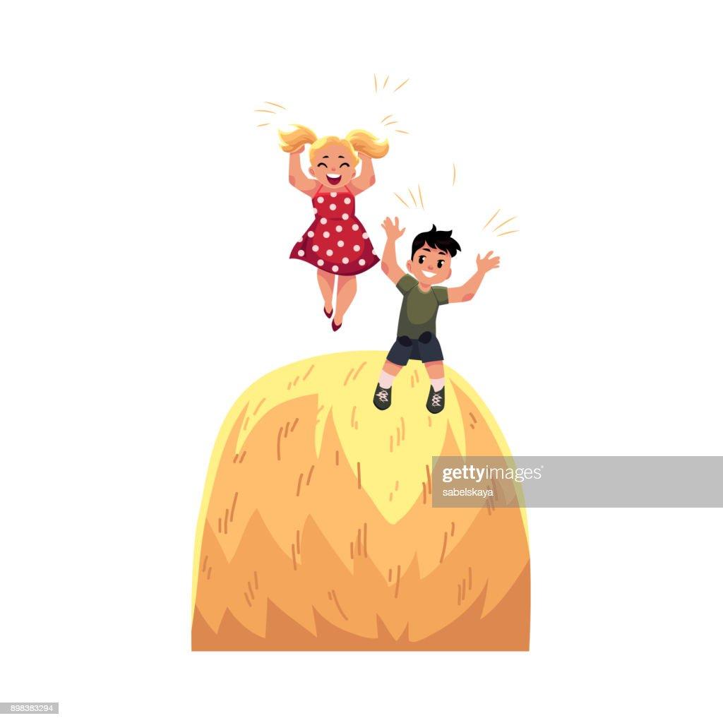 Vector flat boy girl playing at big stack of hay