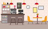 Vector flat cafe interior