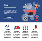 Vector flat car racing icons landing page template illustration