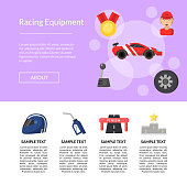 Vector flat car racing icons page template illustration