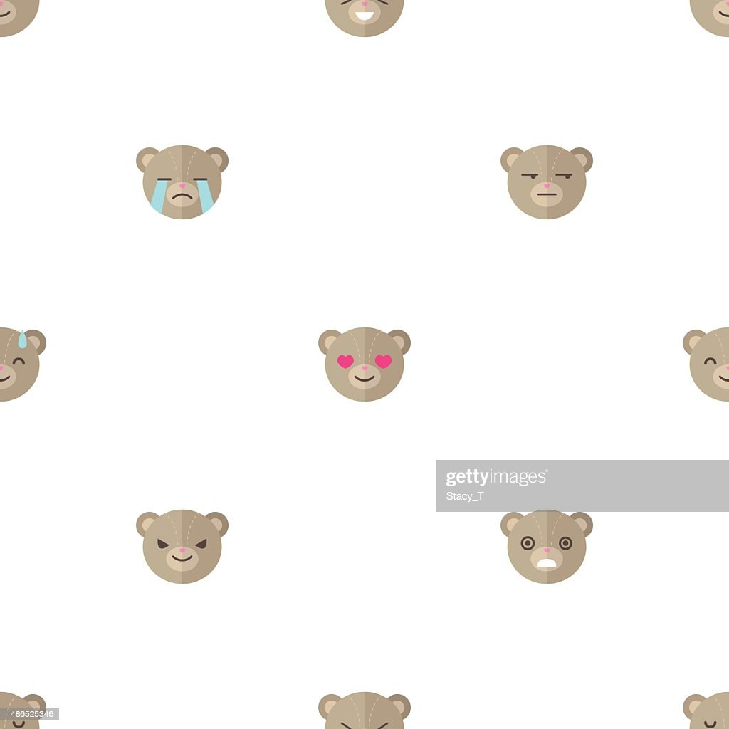 Vector flat cartoon bear heads with different emotions seamless pattern
