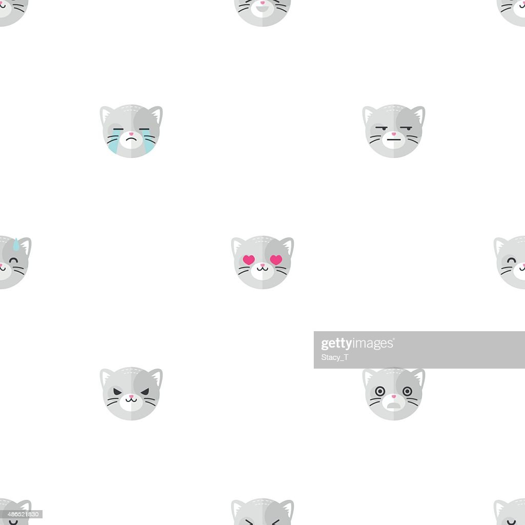 Vector flat cartoon cat heads with different emotions seamless pattern
