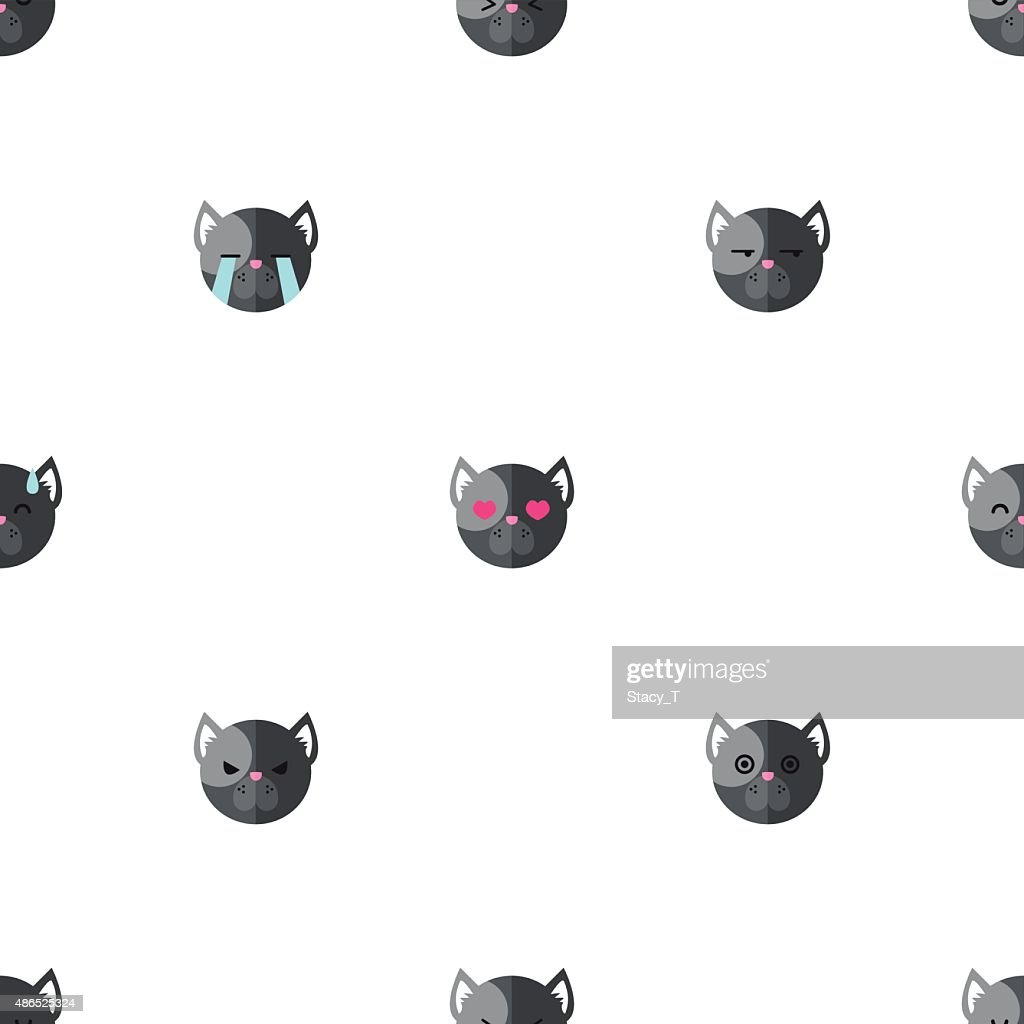 Vector flat cartoon dog heads with different emotions seamless pattern