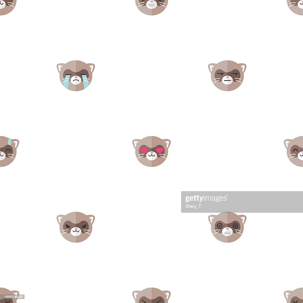 Vector flat cartoon ferret heads with different emotions seamless pattern