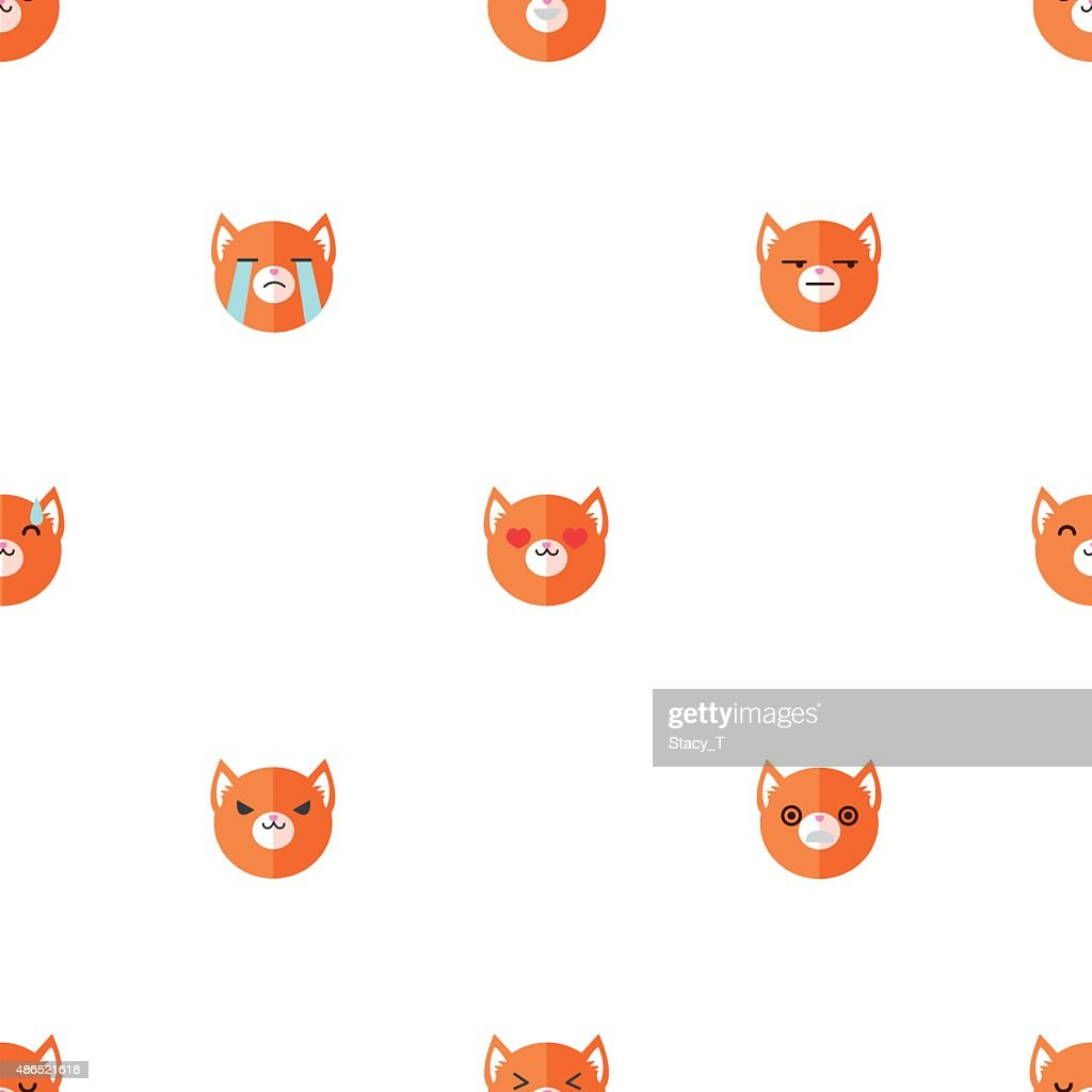 Vector flat cartoon fox heads with different emotions seamless pattern
