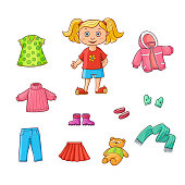 vector flat cartoon girl wardrobe objects set