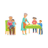 vector flat cartoon grandparents and children set