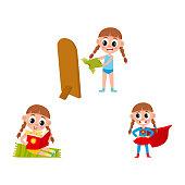 vector flat cartoon kid doing routine activity set