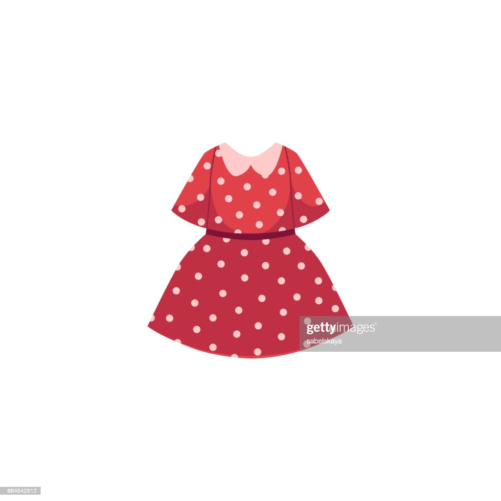 vector flat cartoon kid girl red dotted dress