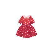 vector flat cartoon kid girl red dotted dress