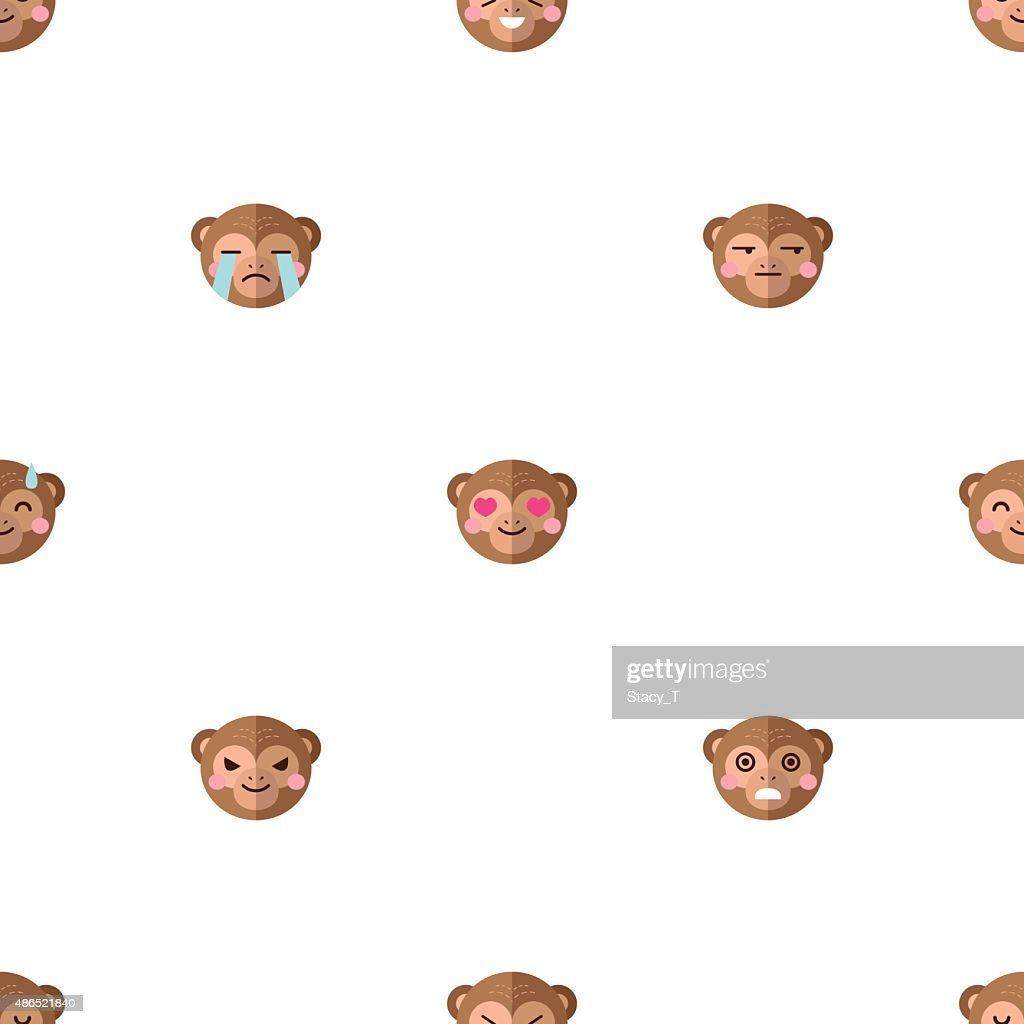 Vector flat cartoon monkey heads with different emotions seamless pattern