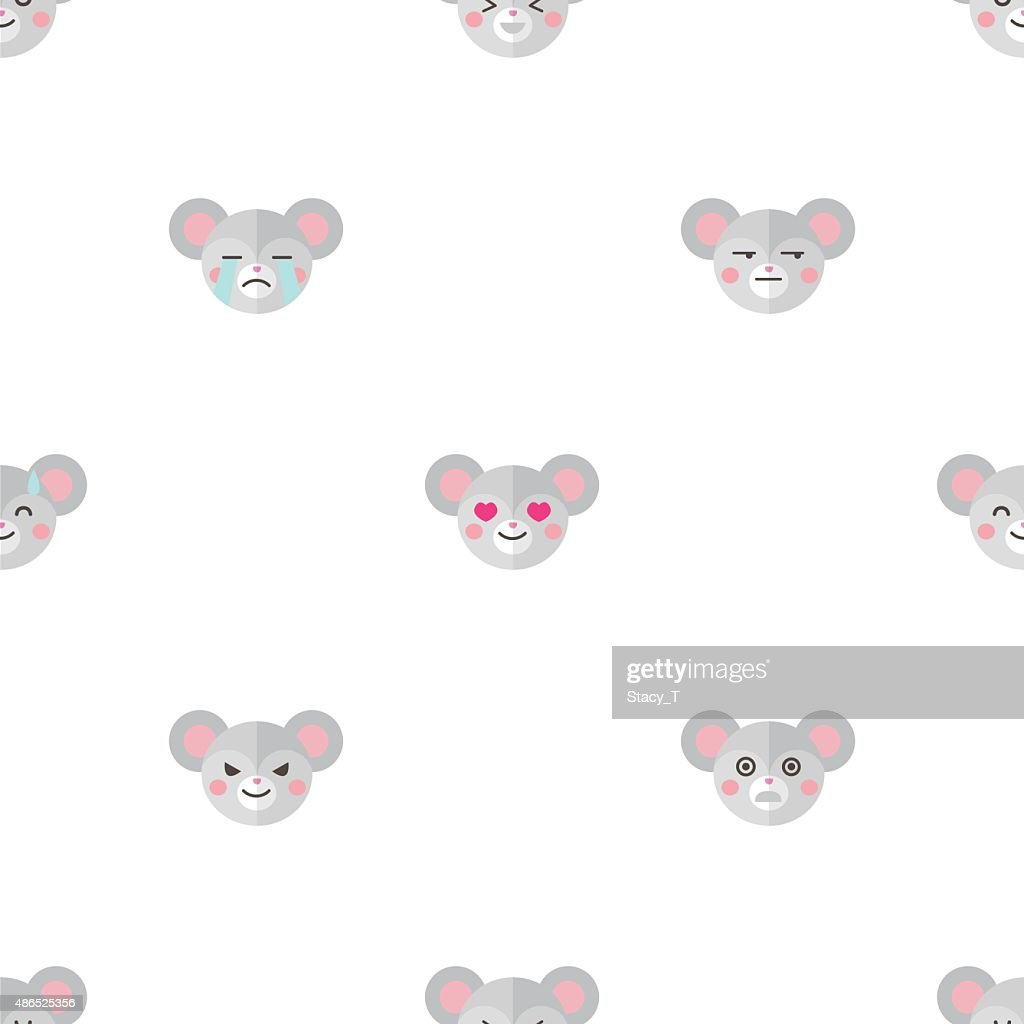 Vector flat cartoon mouse heads with different emotions seamless pattern