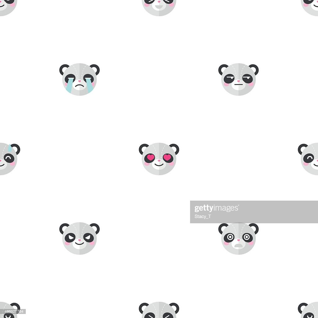 Vector flat cartoon panda heads with different emotions seamless pattern