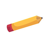 vector flat cartoon school yellow colored pencil.