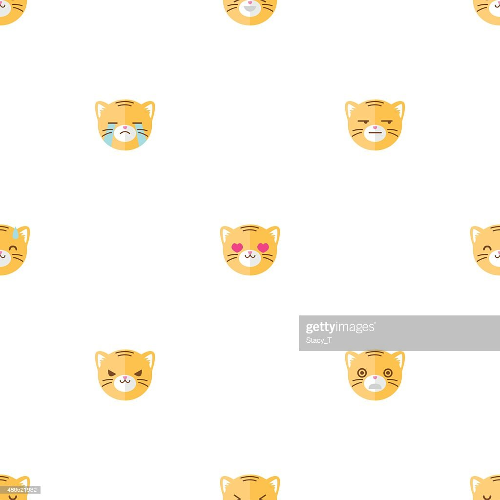 Vector flat cartoon tiger heads with different emotions seamless pattern