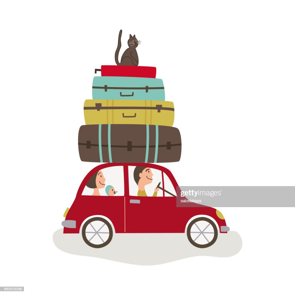 vector flat cartoon travelling car with bags
