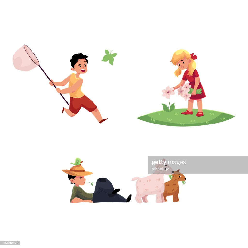 vector flat children at countryside scenes set