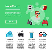 Vector flat cinema icons landing page template illustration