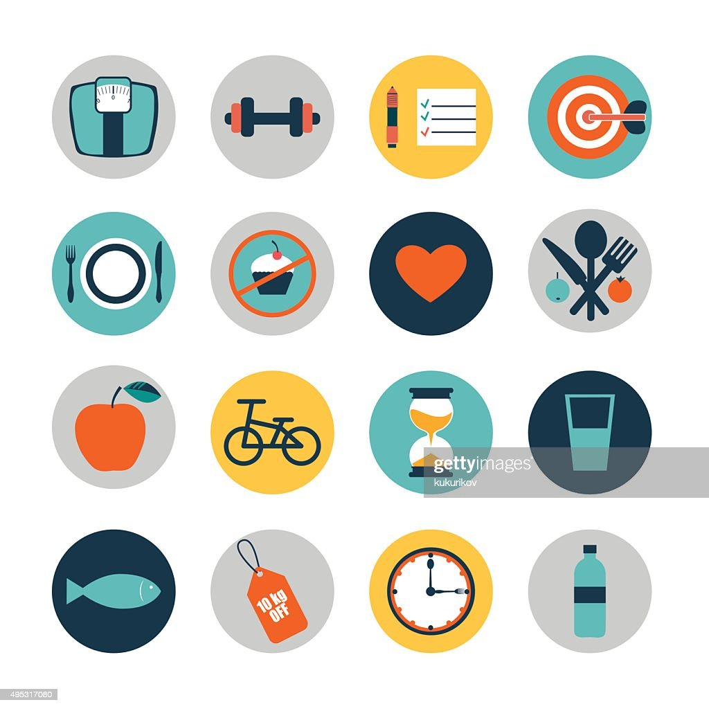 vector flat circle icons design elements of diet and fitness