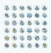 Vector flat color thin line icons set business and management outline symbols.
