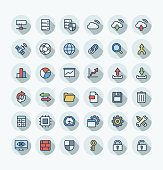 Vector flat color thin line icons set with big data and analytics technology outline symbols