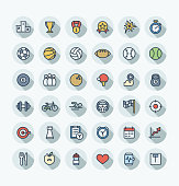 Vector flat color thin line icons set with sport and fitness outline symbols.