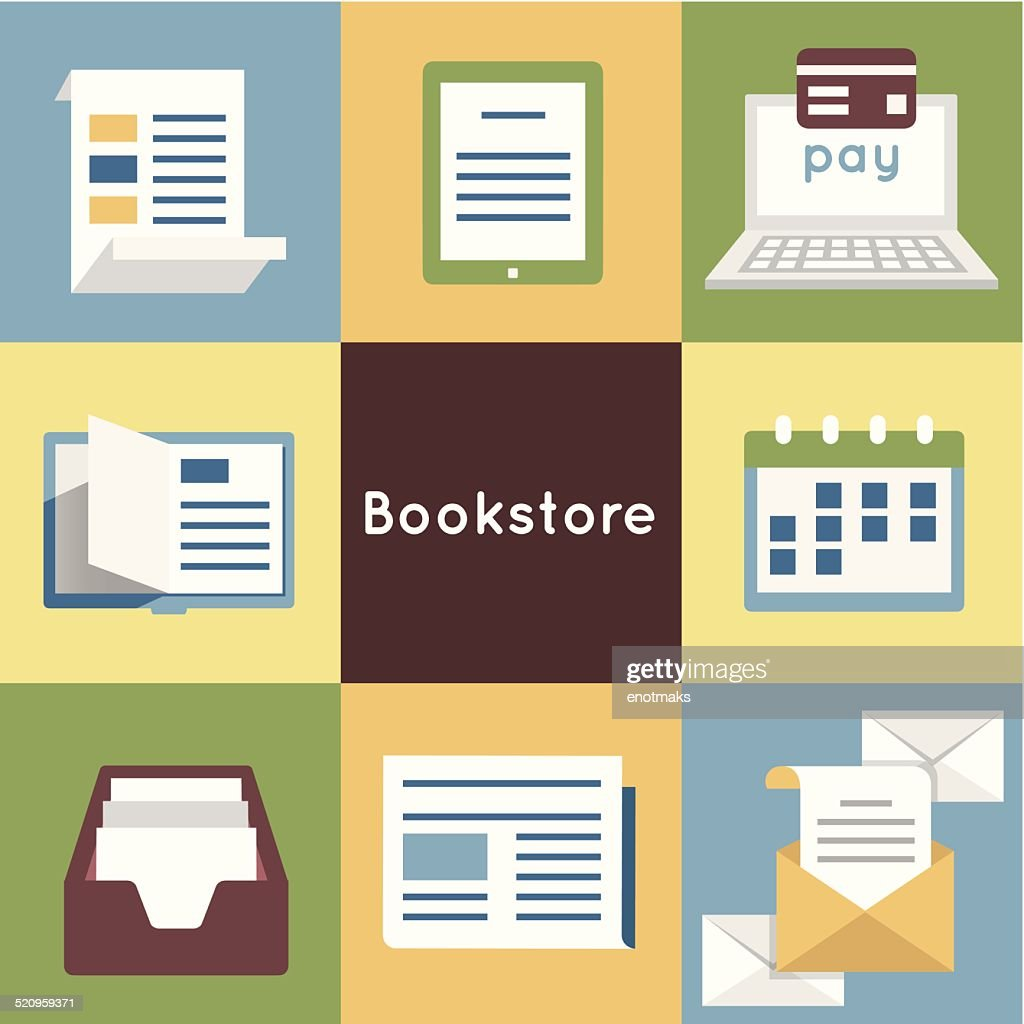 Vector Flat Concept of Bookstore - Mobile Service