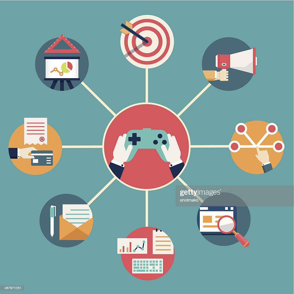 Vector flat concept of gamification in business. Integration of management