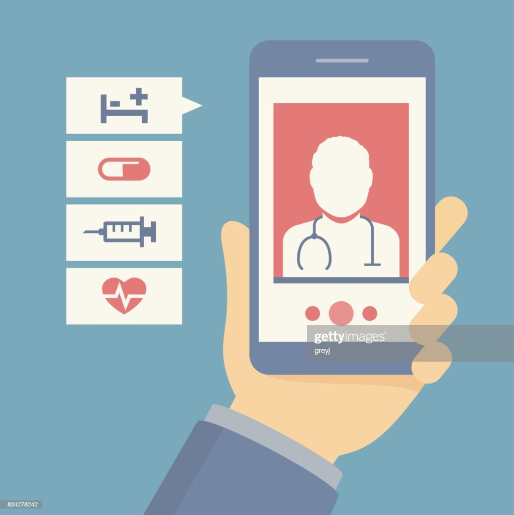 Vector flat concept of hand holding mobile phone with medical assistance, doctor consultation and featuring medical icons