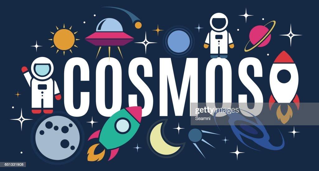 Vector flat cosmos design symbols