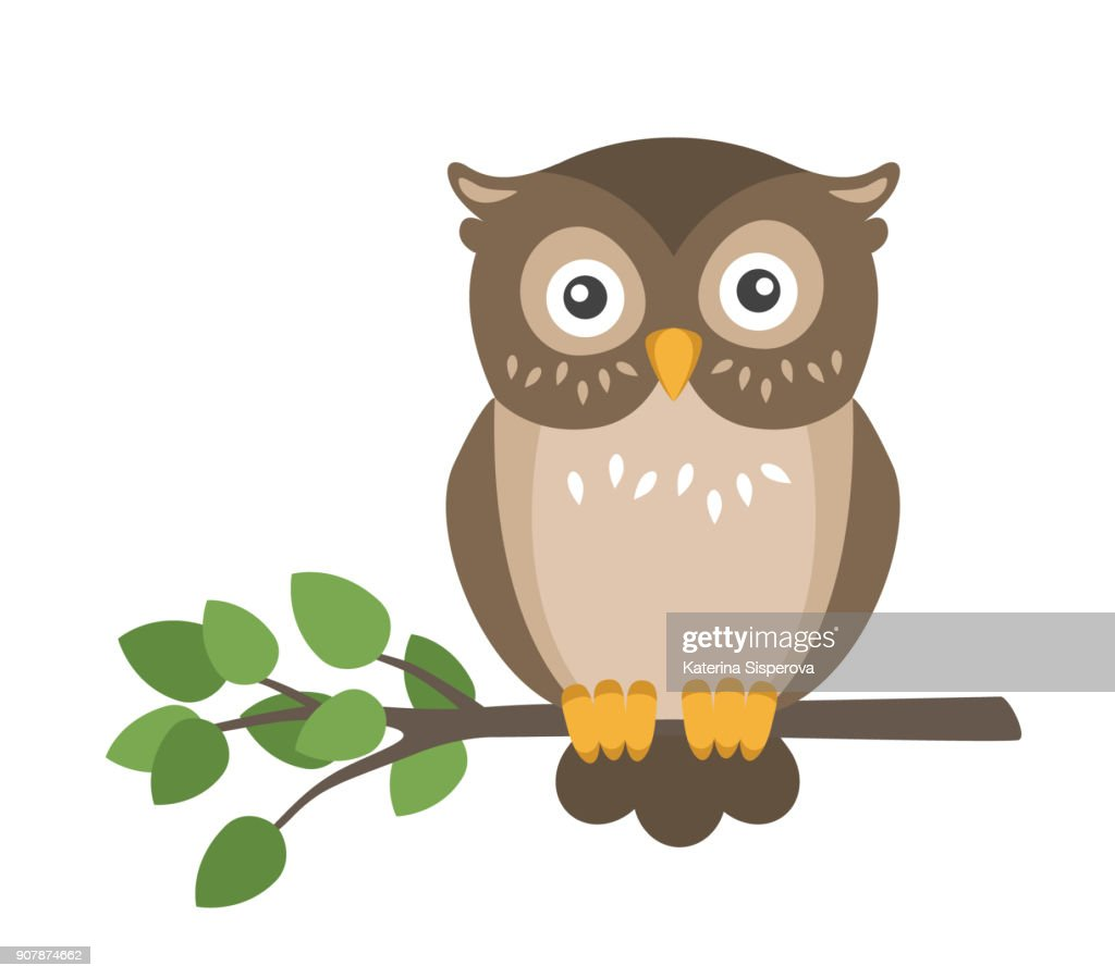 Vector flat cute brown owl sitting on branch isolated on white background