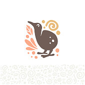 Vector flat cute funny hand drawn cute kiwi bird silhouette isolated on white background.