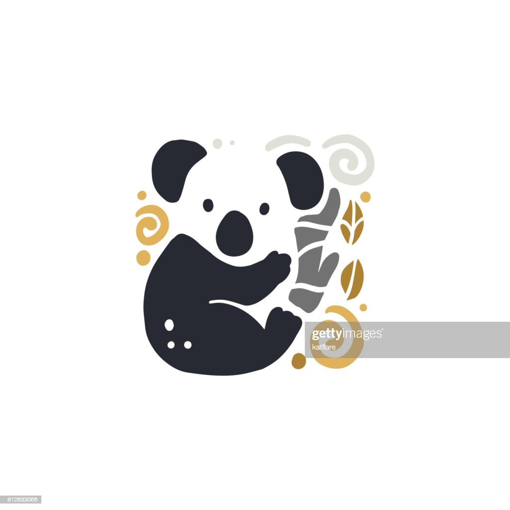 Vector flat cute funny hand drawn koala animal silhouette isolated on white background.