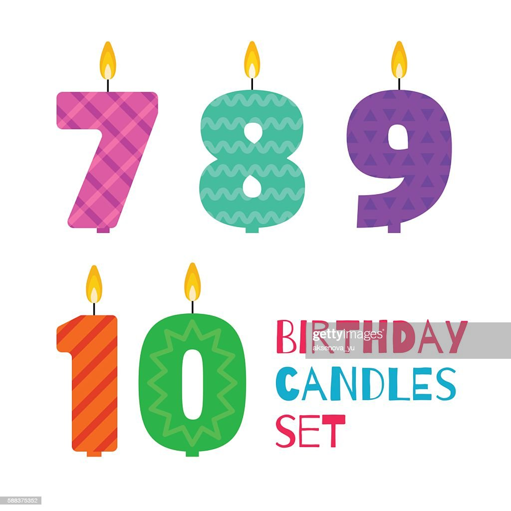 Vector flat design birthday candle set of numbers