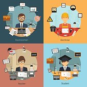 Vector flat design business professional people concept banner