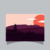 vector flat design scenery in indonesia