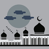 vector flat design simple mosque