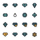 Vector flat diamond icons set