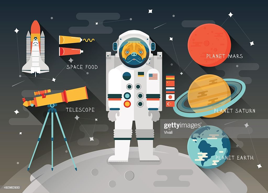 Vector flat education space illustration. Planets of solar system. Astronaut : Vector Art