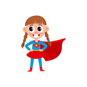 vector flat girl kid in fancy super woman costume