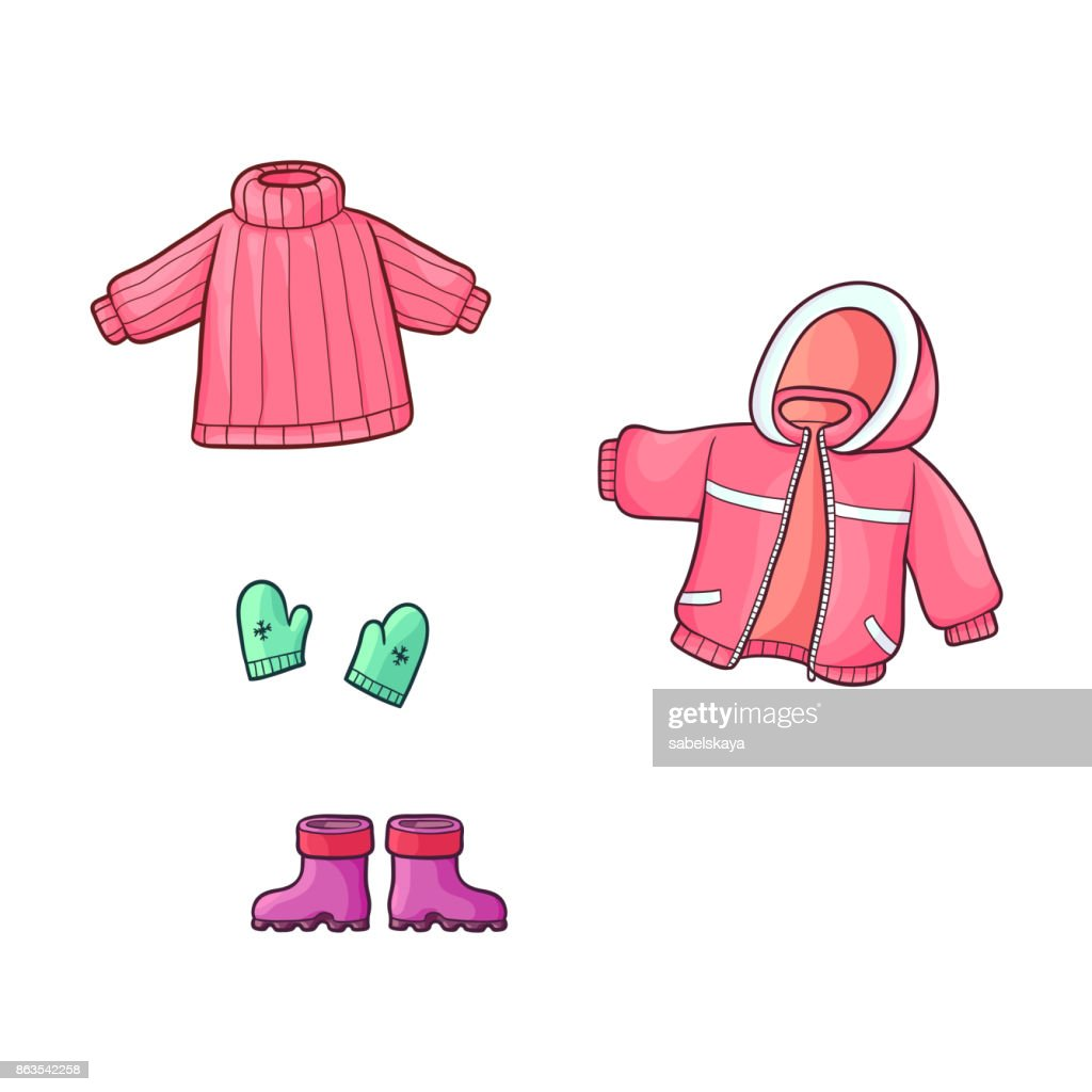 vector flat girl kid outfit apparel set