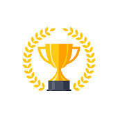 Vector flat golden trophy