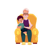 vector flat grandfather grandson sit at armchair