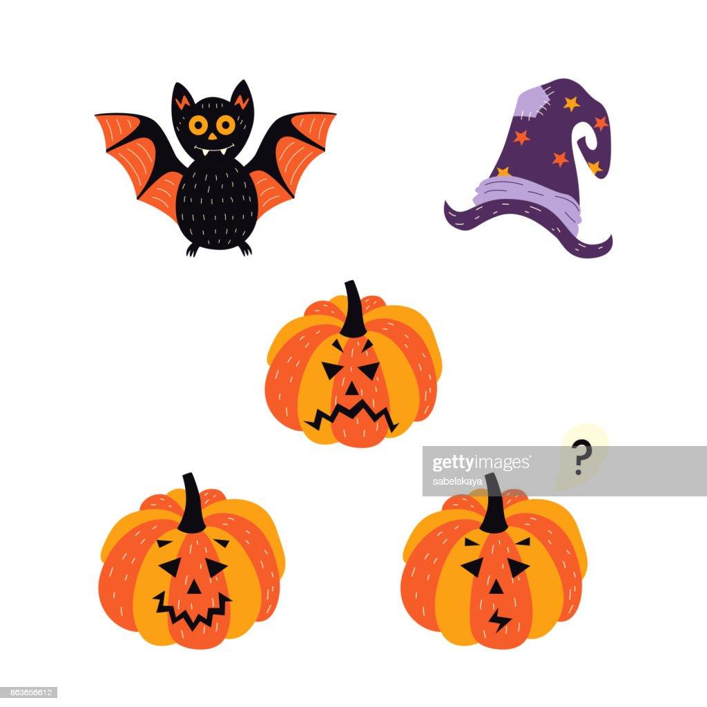 Vector Flat Halloween Symbols Set Vector Art | Getty Images