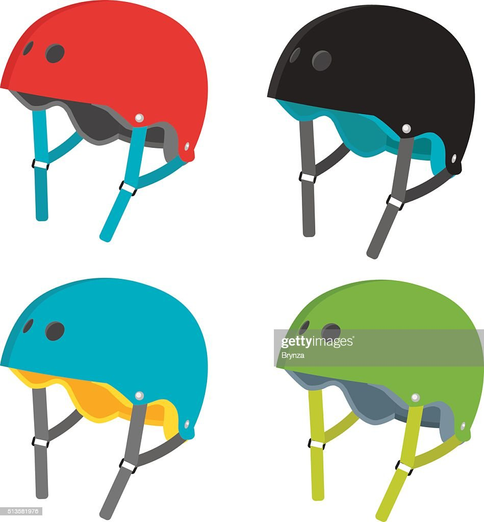 Vector flat helmets icons isolated on white background