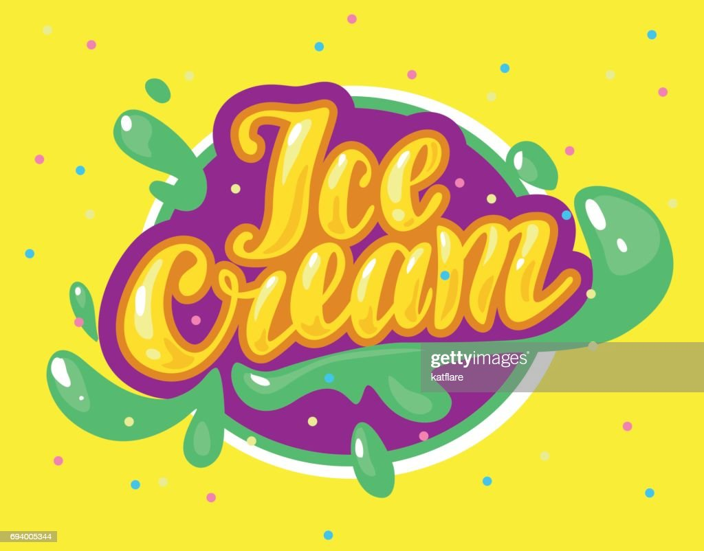 Vector flat ice cream shop, store icon isolated on yellow background.