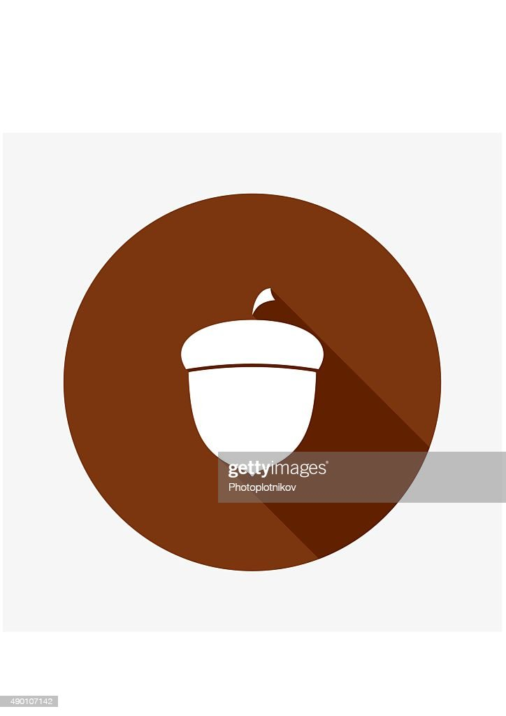 Vector Flat Icon of Acorn.